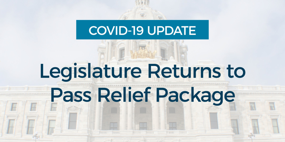 COVID 19: Legislature Returns to Pass Relief Package
